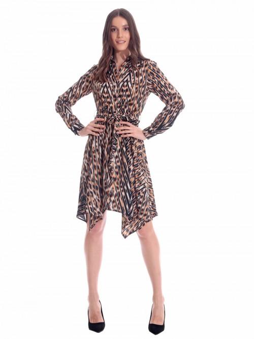 Φόρεμα λεοπάρ γιακάς κουμπιά
