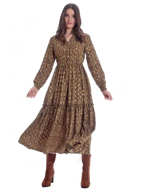 Φόρεμα μάξι χρυσά φύλλα